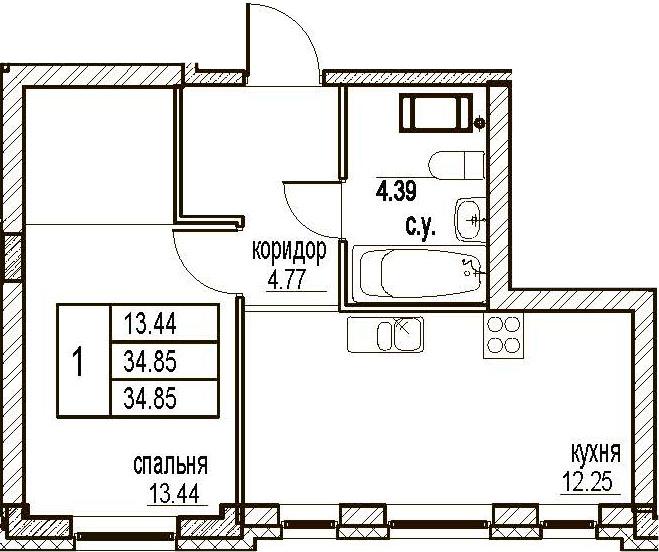 1-комнатная, 34.85 м²– 2