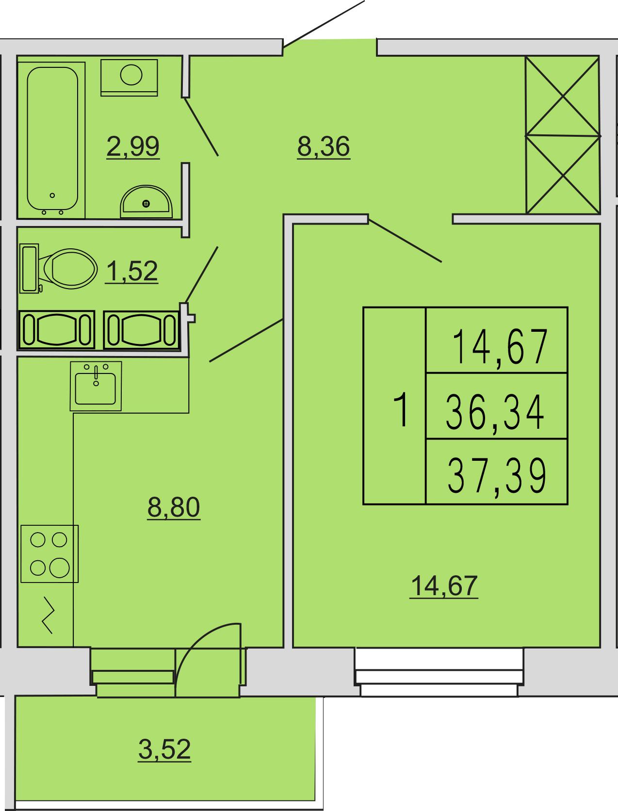 1-к.кв, 40.53 м²