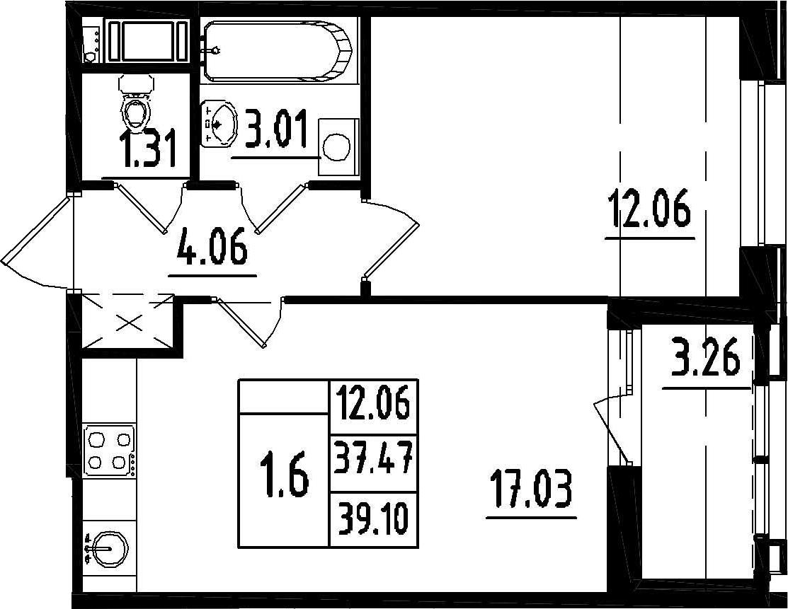 2-к.кв (евро), 40.73 м²