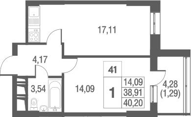 2-к.кв (евро), 43.21 м²