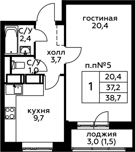 1-комнатная, 38.7 м²– 2