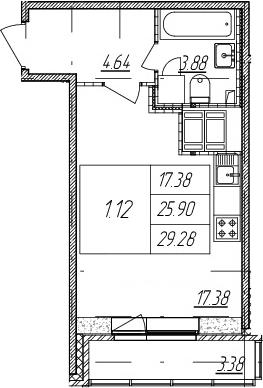 Студия, 29.28 м²