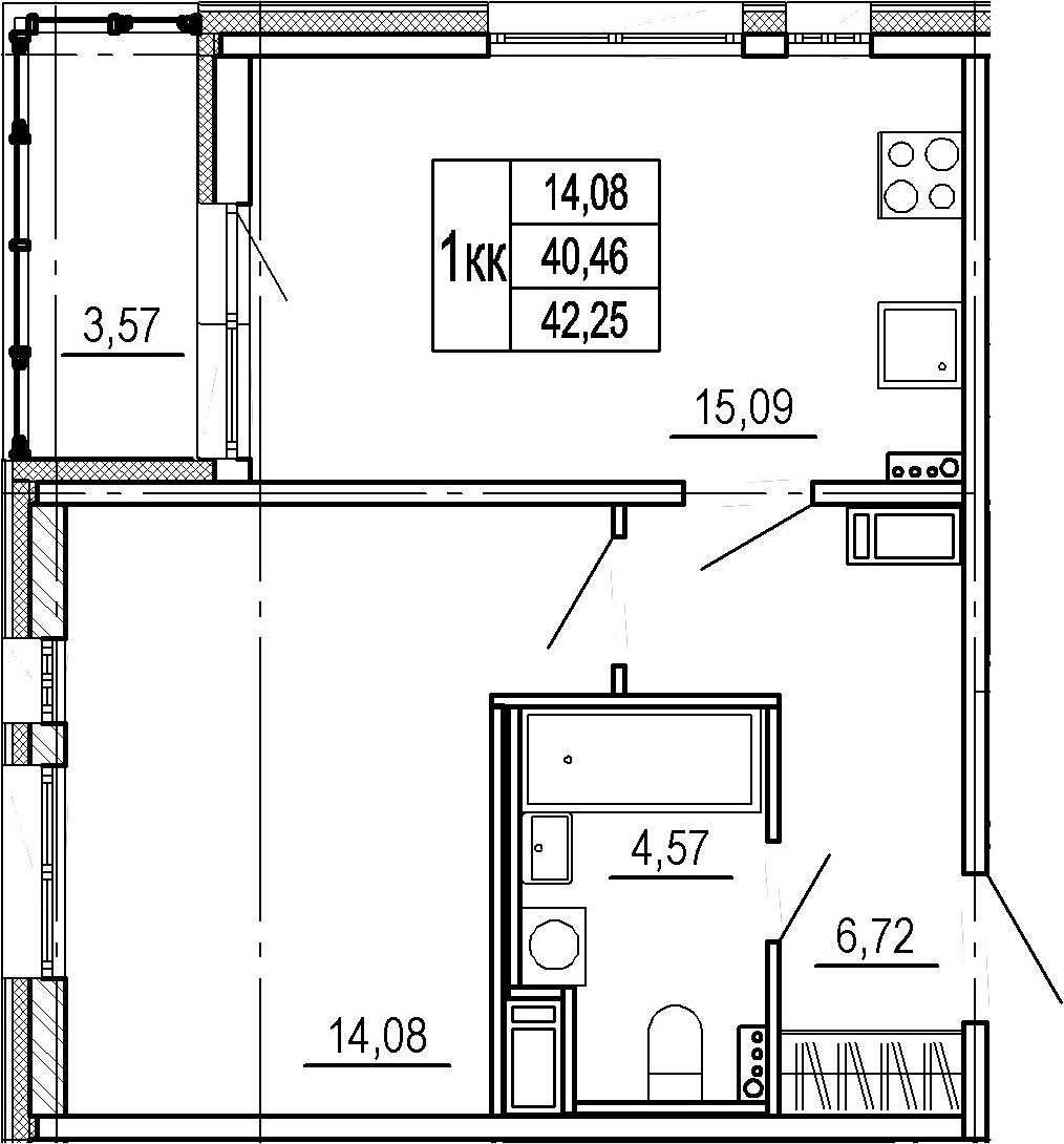 2Е-комнатная, 40.46 м²– 2