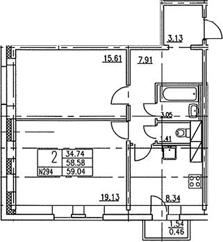 2-к.кв, 59.17 м²