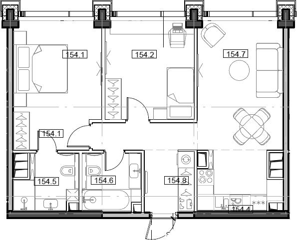 3Е-комнатная, 64.79 м²– 2