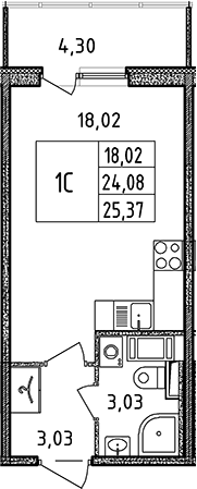 Студия, 25.37 м²– 2