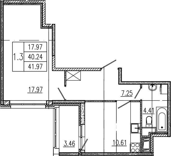1-комнатная, 40.24 м²– 2