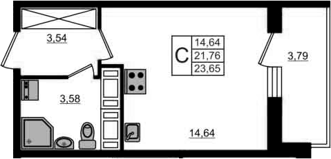 Студия, 25.55 м²