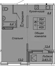 2Е-к.кв, 40.9 м², от 10 этажа
