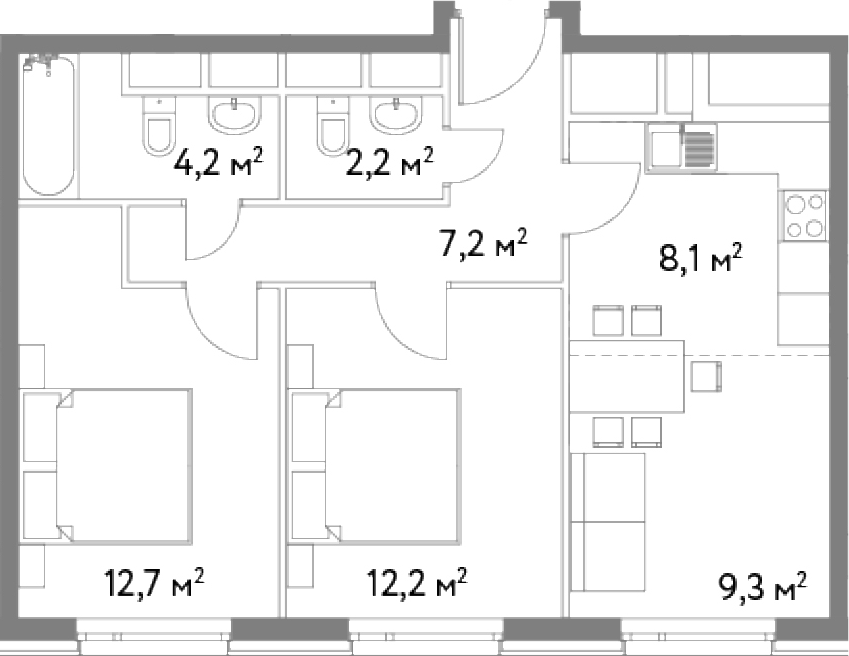 3-к.кв (евро), 55.9 м²