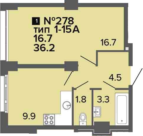 1-комнатная квартира, 36.2 м², 2 этаж – Планировка