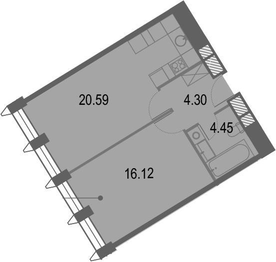 2Е-комнатная квартира, 45.46 м², 3 этаж – Планировка