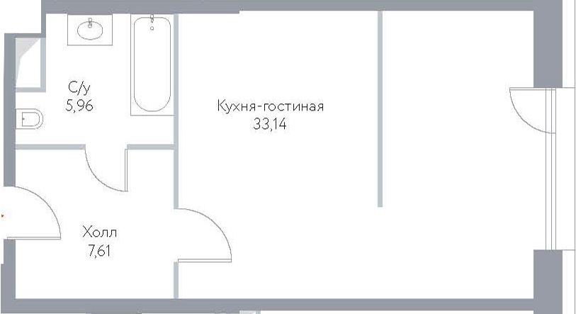 Студия, 46.71 м²– 2