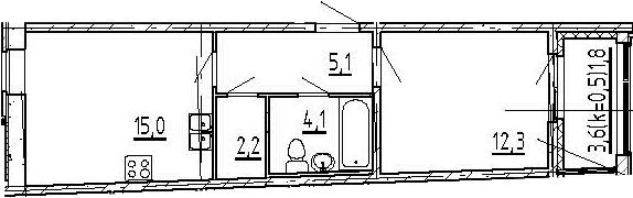 2Е-к.кв, 40.5 м², 5 этаж