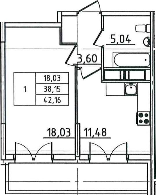 1-к.кв, 42.16 м²