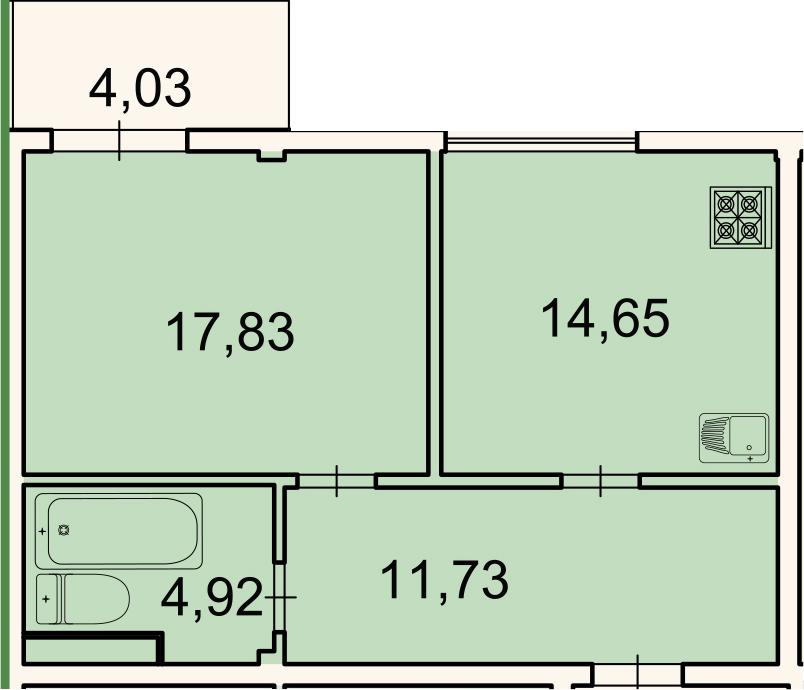 1-к.кв, 50.3 м², 3 этаж