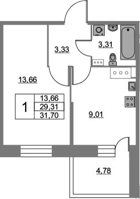 1-к.кв, 31.7 м², от 3 этажа