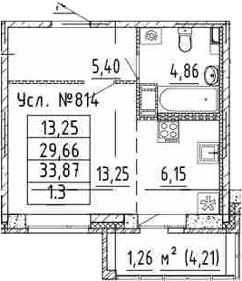 Студия, 33.87 м²