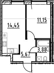 2-к.кв (евро), 35.15 м²