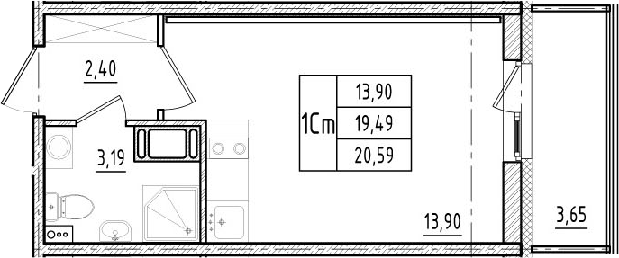 Студия, 19.49 м², 17 этаж