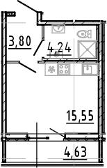 Студия, 23.59 м²– 2