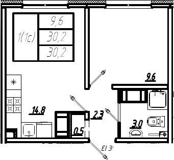 2Е-к.кв, 30.2 м², 6 этаж