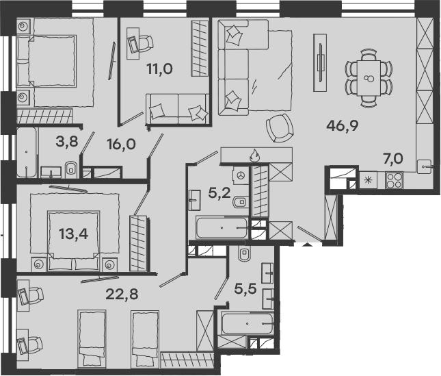 5-к.кв (евро), 131.6 м²