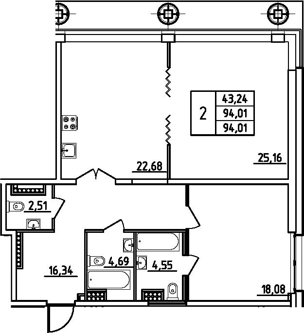 3Е-комнатная, 94.01 м²– 2