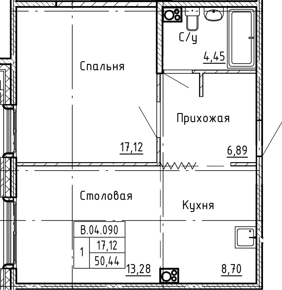 1-к.кв, 50.44 м²