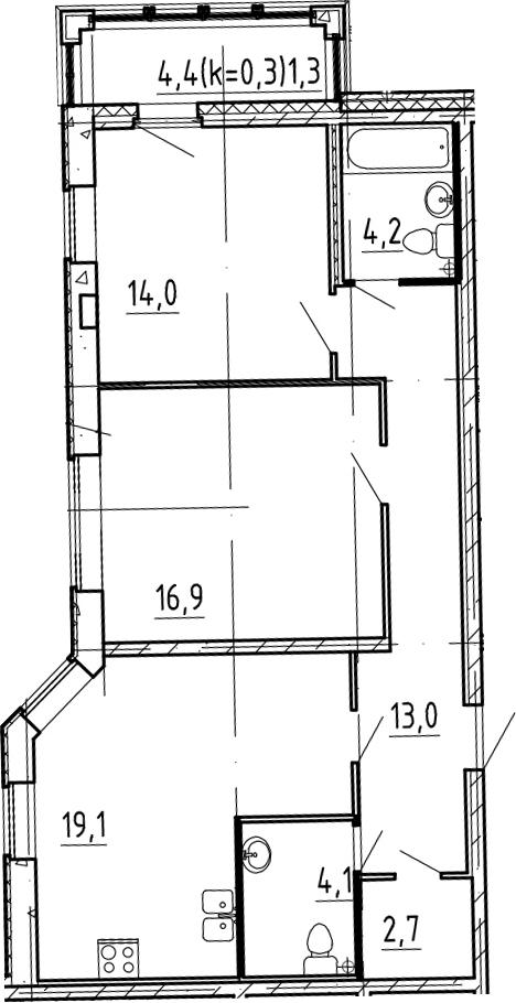 3-к.кв (евро), 78.33 м²