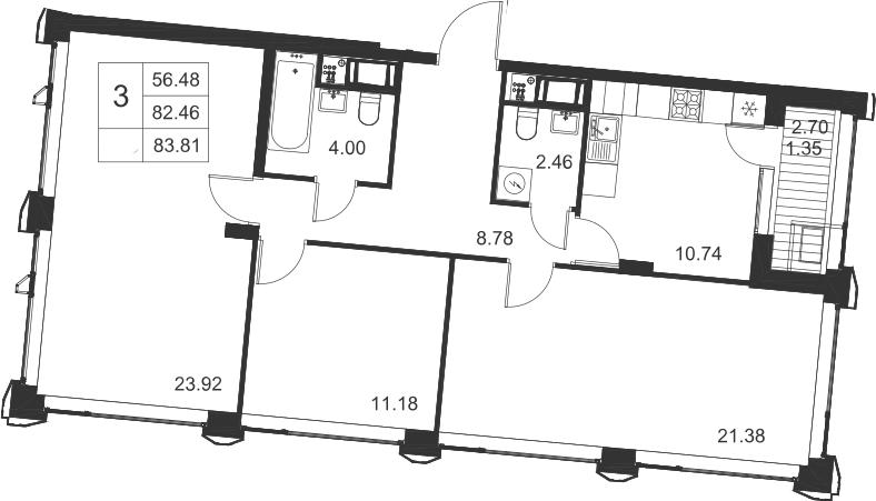 3-комнатная, 83.81 м²– 2