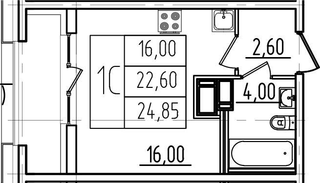 Студия, 24.85 м²