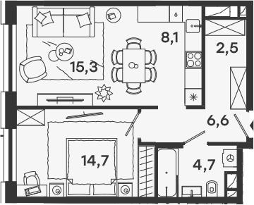 2Е-комнатная, 51.9 м²– 2