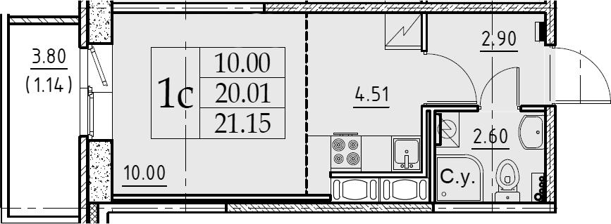 Студия, 21.15 м², от 10 этажа