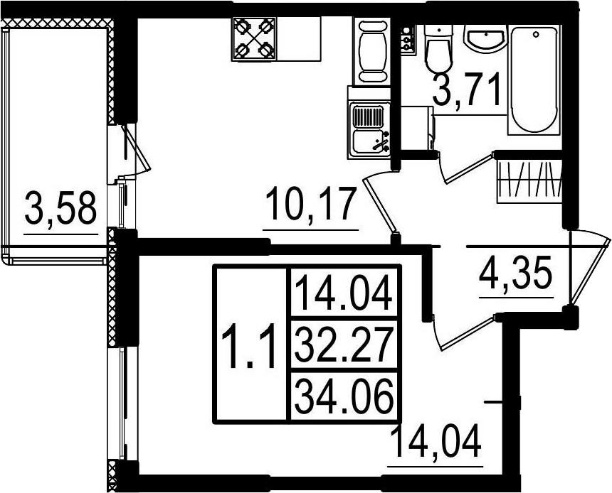 1-к.кв, 35.85 м²