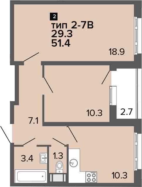 2-к.кв, 51.4 м², 23 этаж