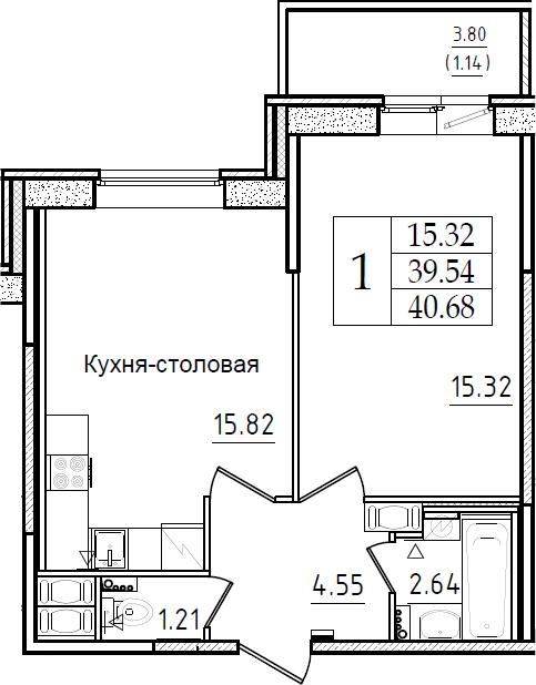 2Е-комнатная, 40.68 м²– 2