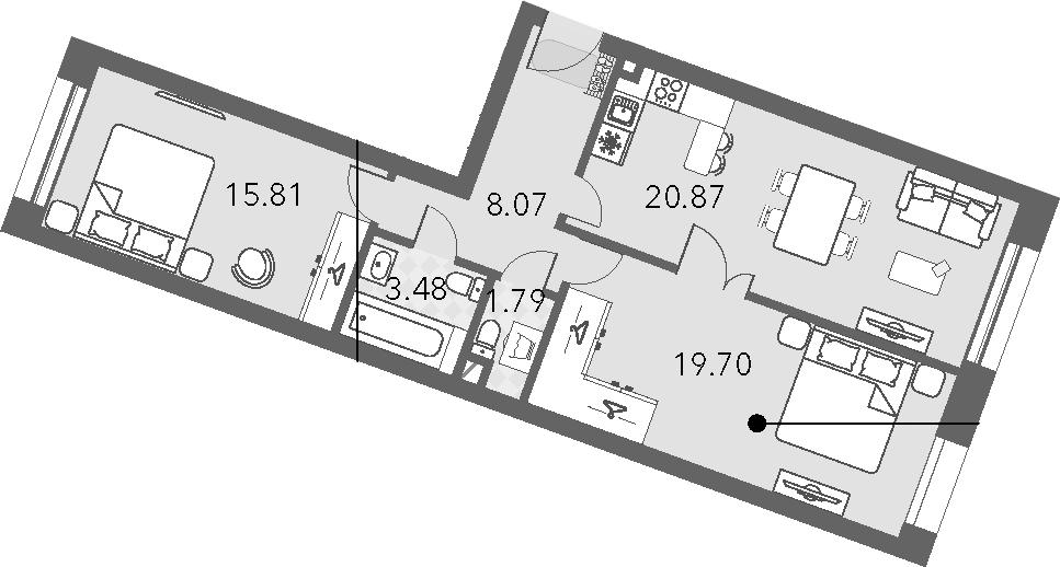 3Е-комнатная, 69.72 м²– 2
