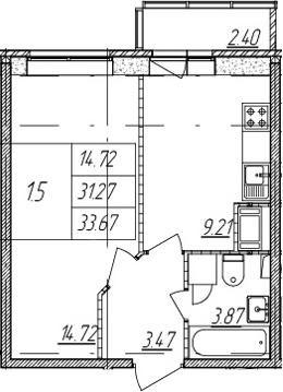 1-комнатная, 31.27 м²– 2