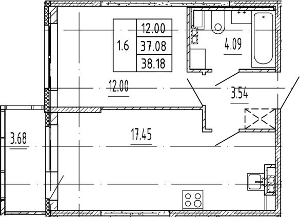 2Е-комнатная, 37.08 м²– 2