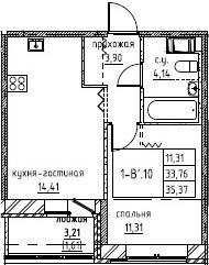 2-к.кв (евро), 36.98 м²