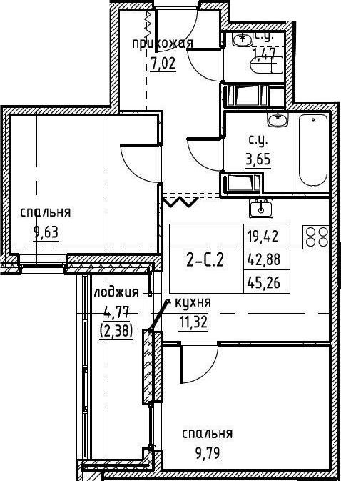 2-к.кв, 45.26 м²