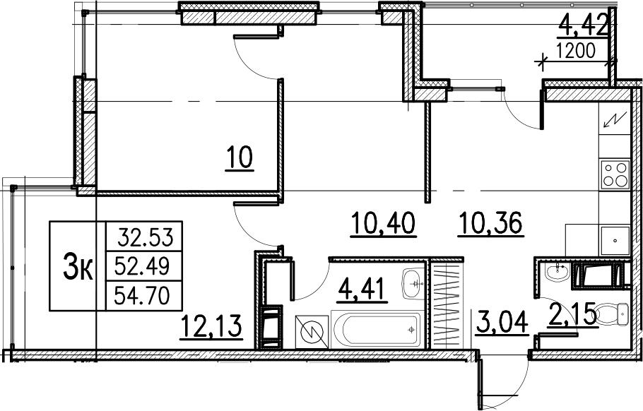 3-комнатная, 54.7 м²– 2