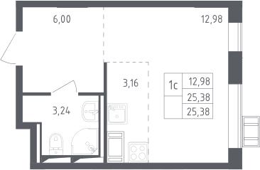 Студия, 25.38 м², 16 этаж