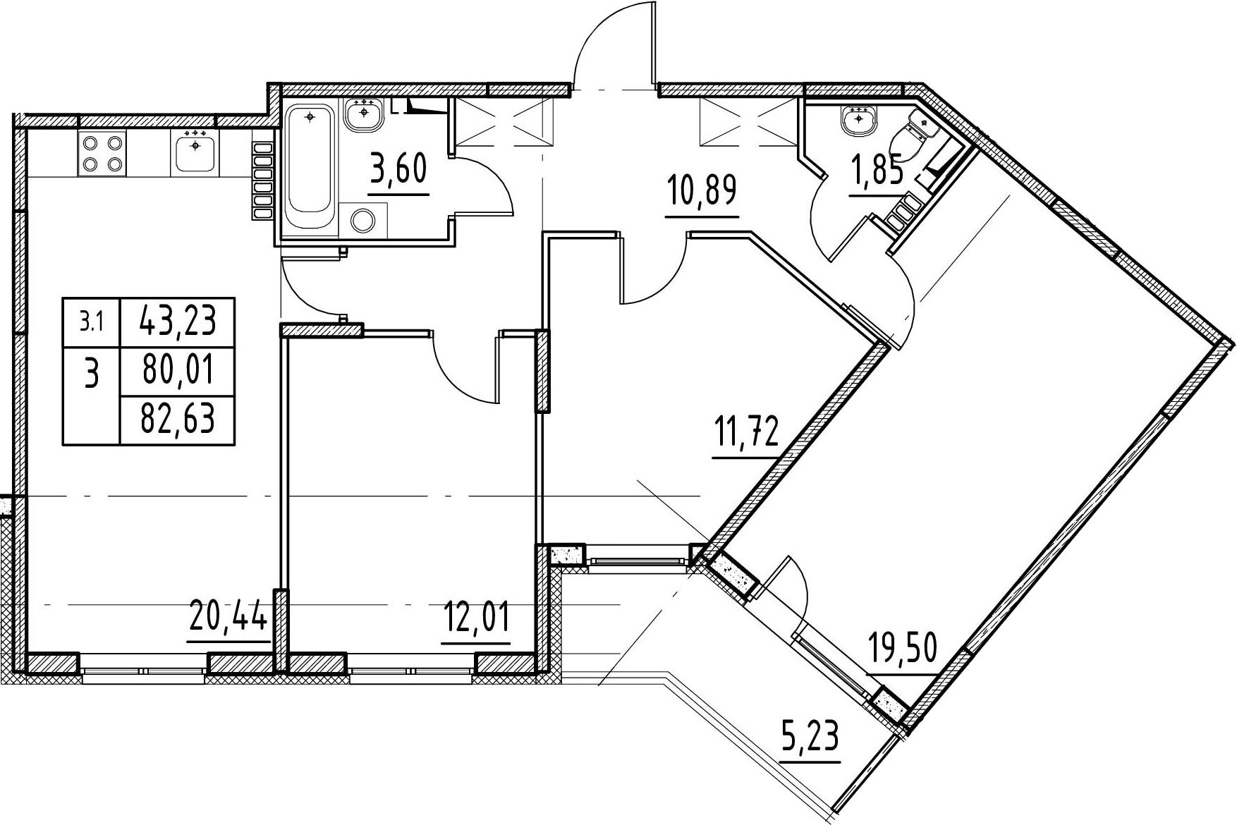 3-к.кв, 80.01 м²