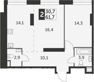 2-комнатная, 61.7 м²– 2