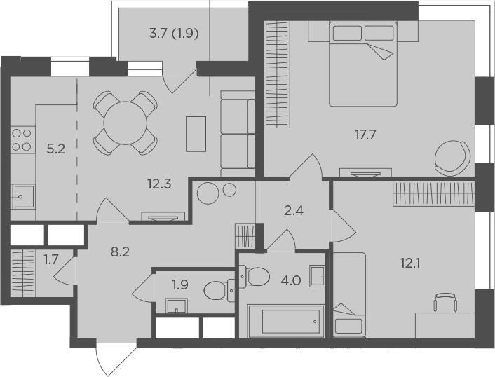 3Е-к.кв, 67.4 м²