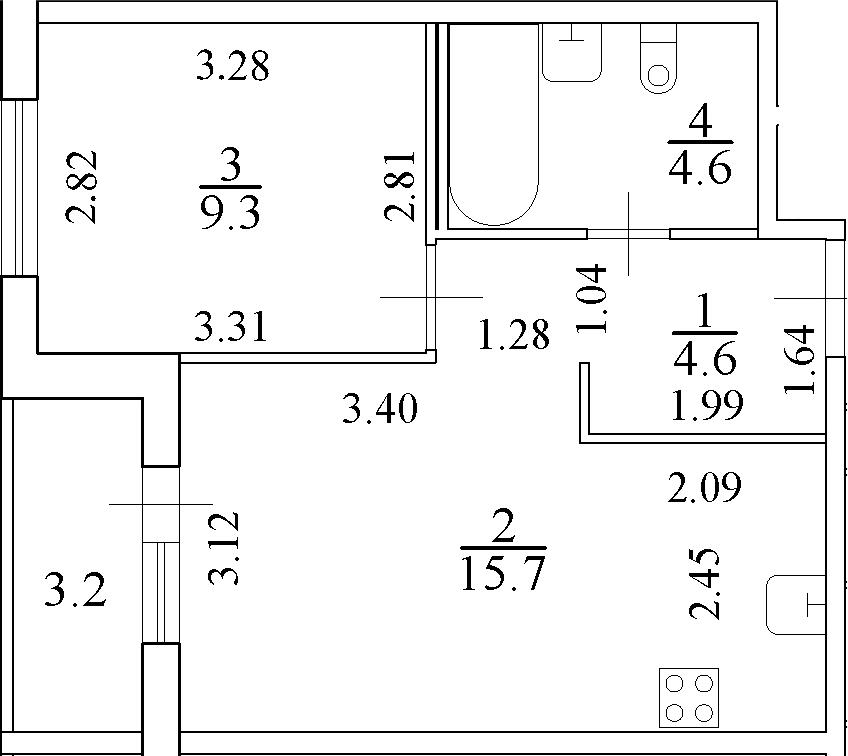 2Е-к.кв, 35.8 м²