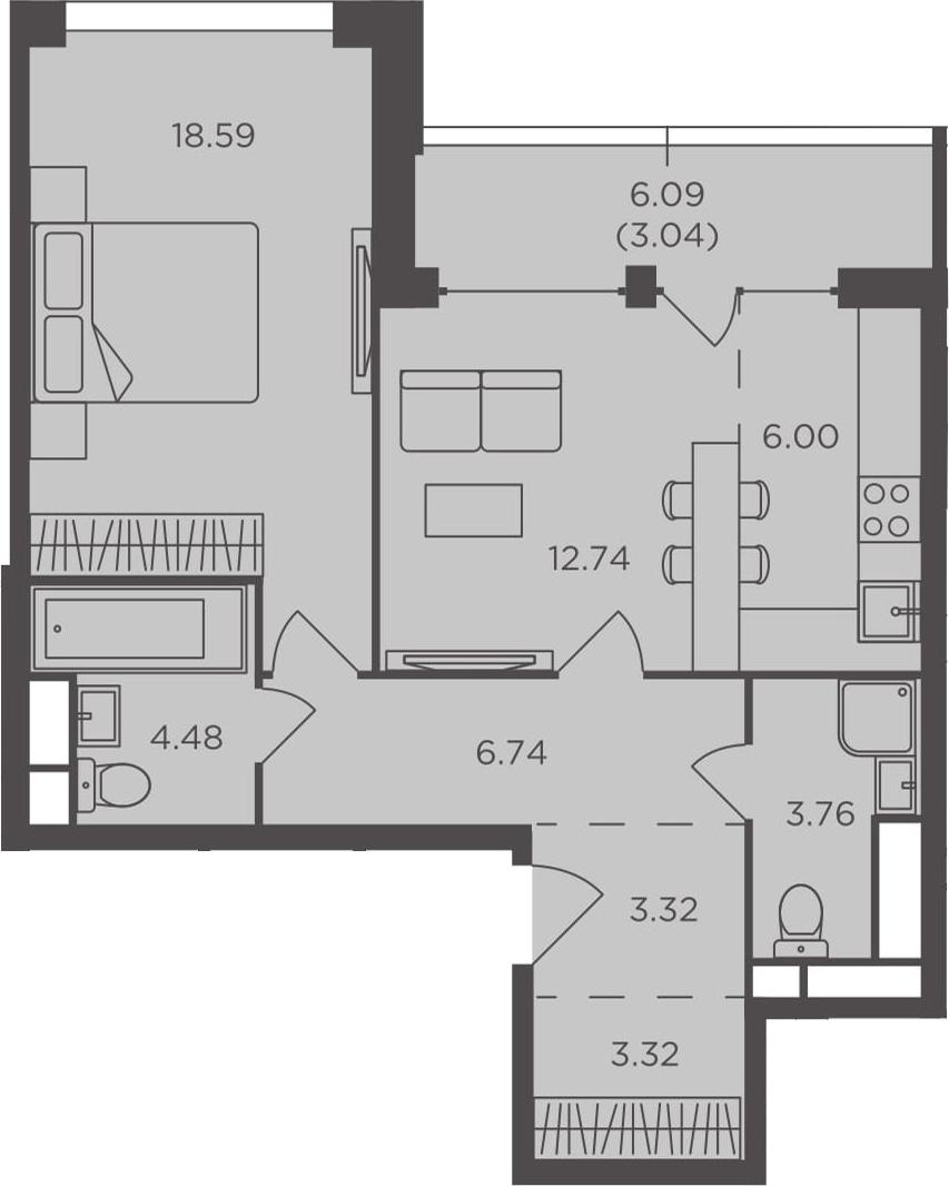2Е-комнатная, 61.99 м²– 2