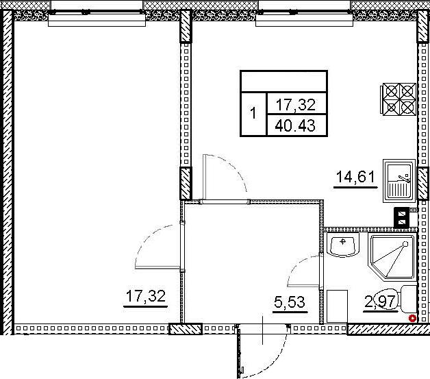 1-к.кв, 40.43 м²